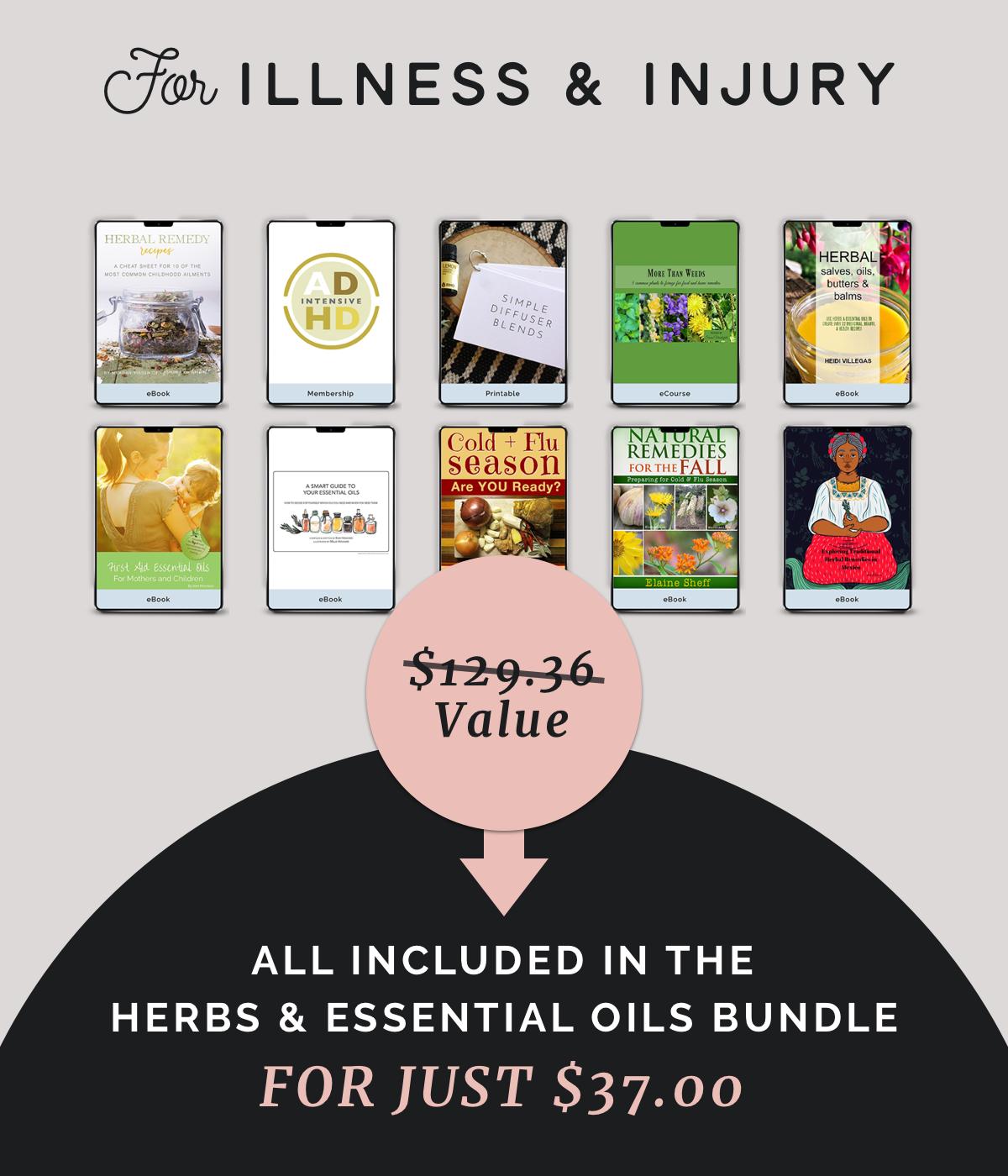 illness, injury, herbs, essential oils, resources, bundle