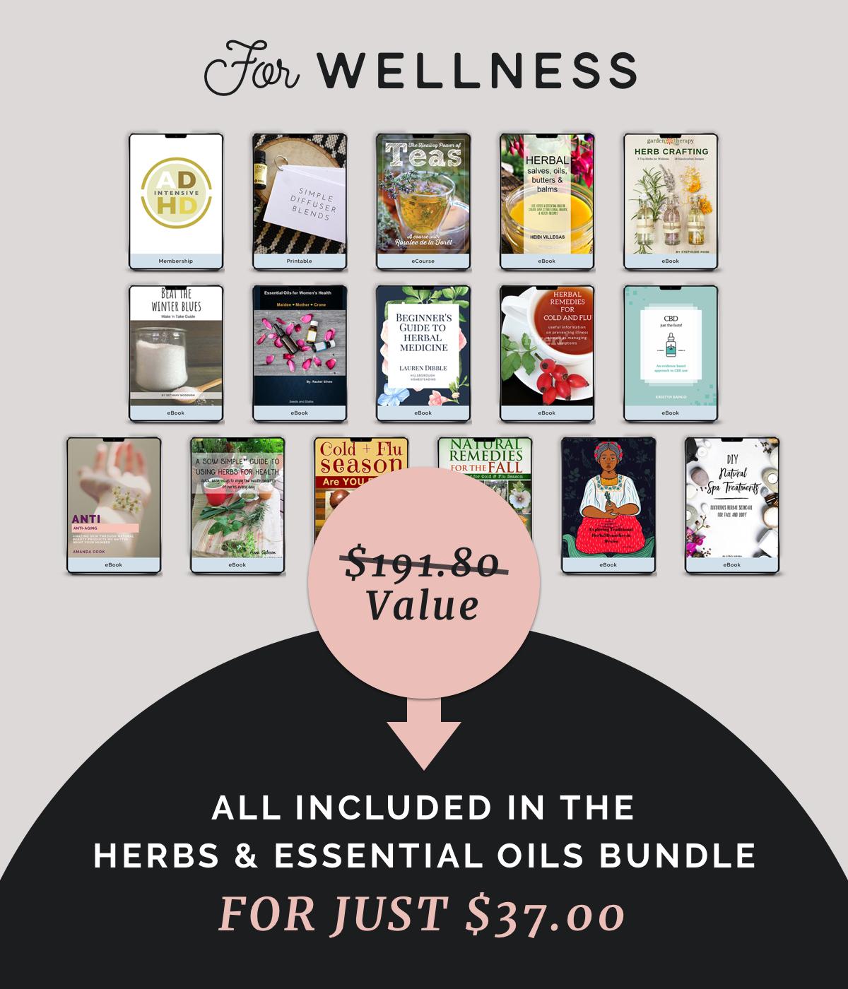 wellness, herbs, essential oils, resources, bundle